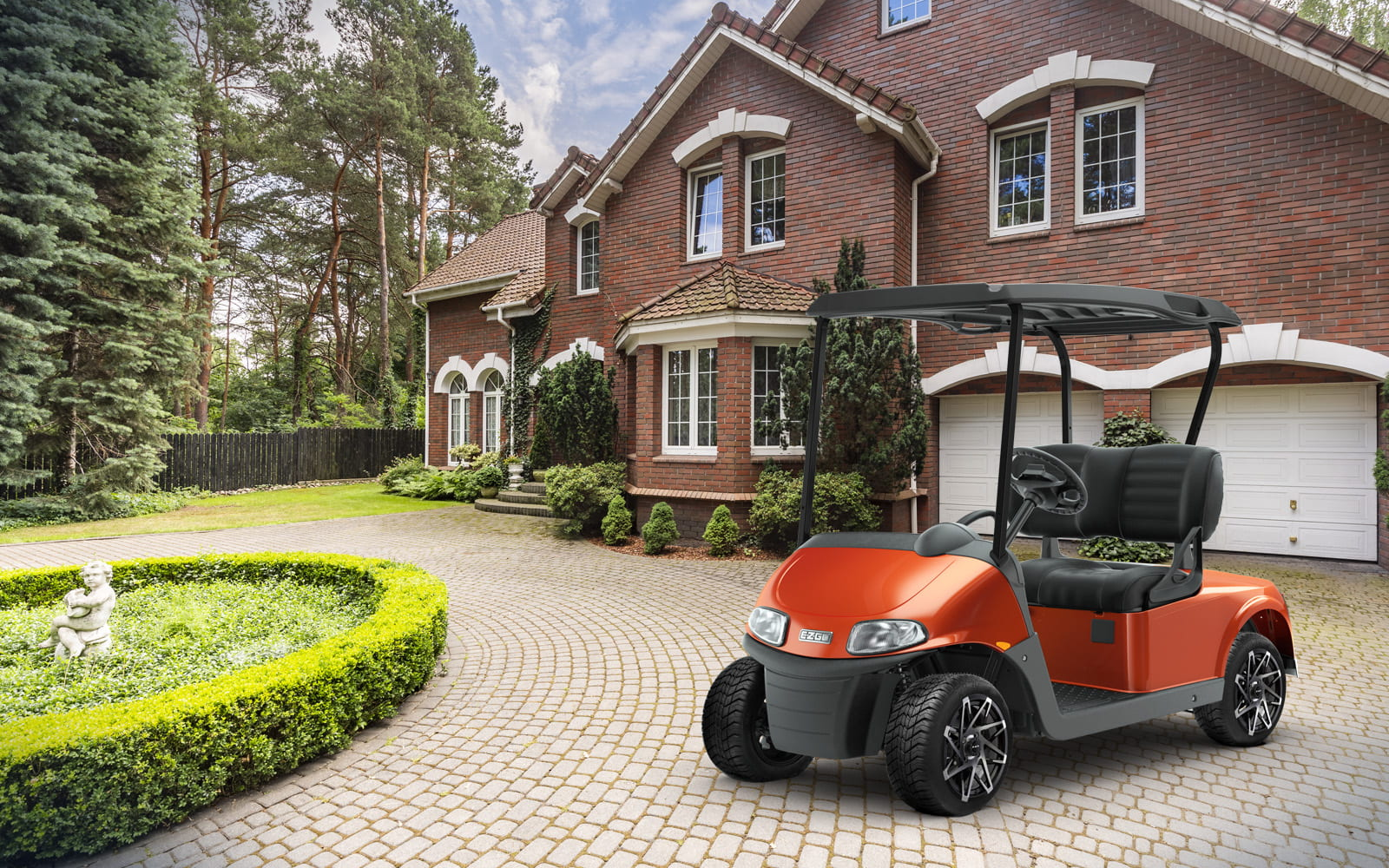 E-Z-GO Tangerine Freedom RXV Electric Lithium Golf Cart 2 Passenger