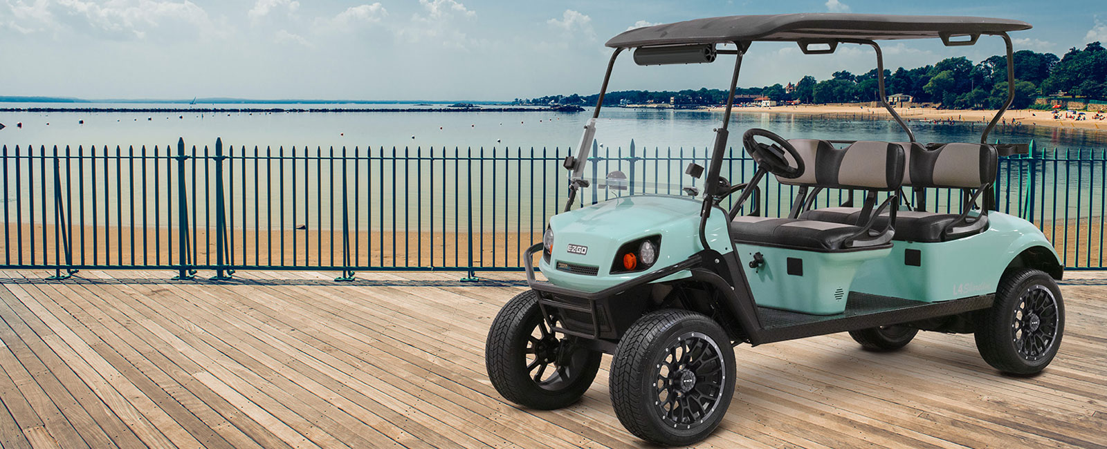 E-Z-GO Seafoam Green Golf Cart 4 Passenger