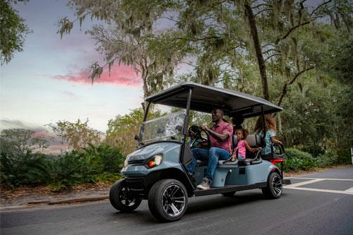 EZGO Express S6 Golf Cart with Top Accessory