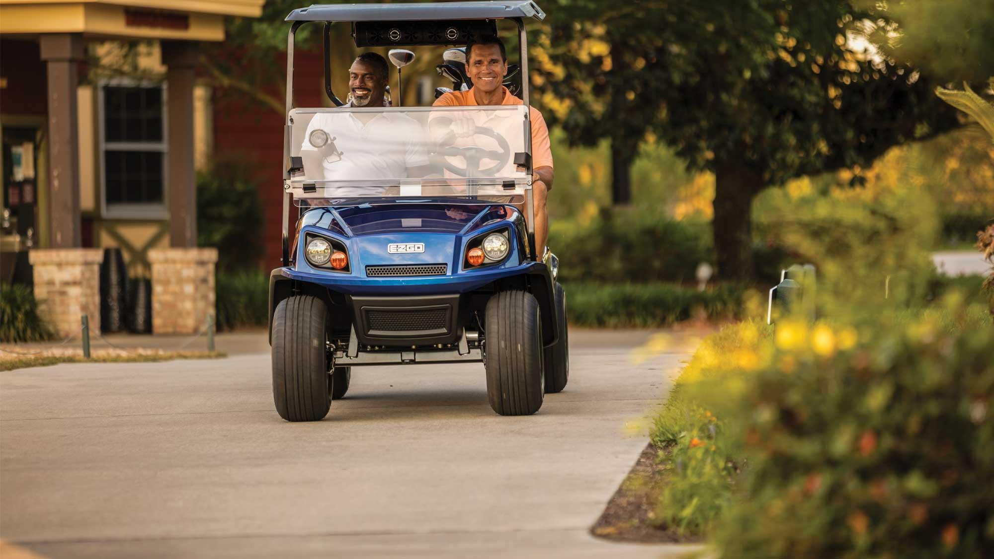 EZGO Blue 72V Freedom Golf Cart with Black Seats