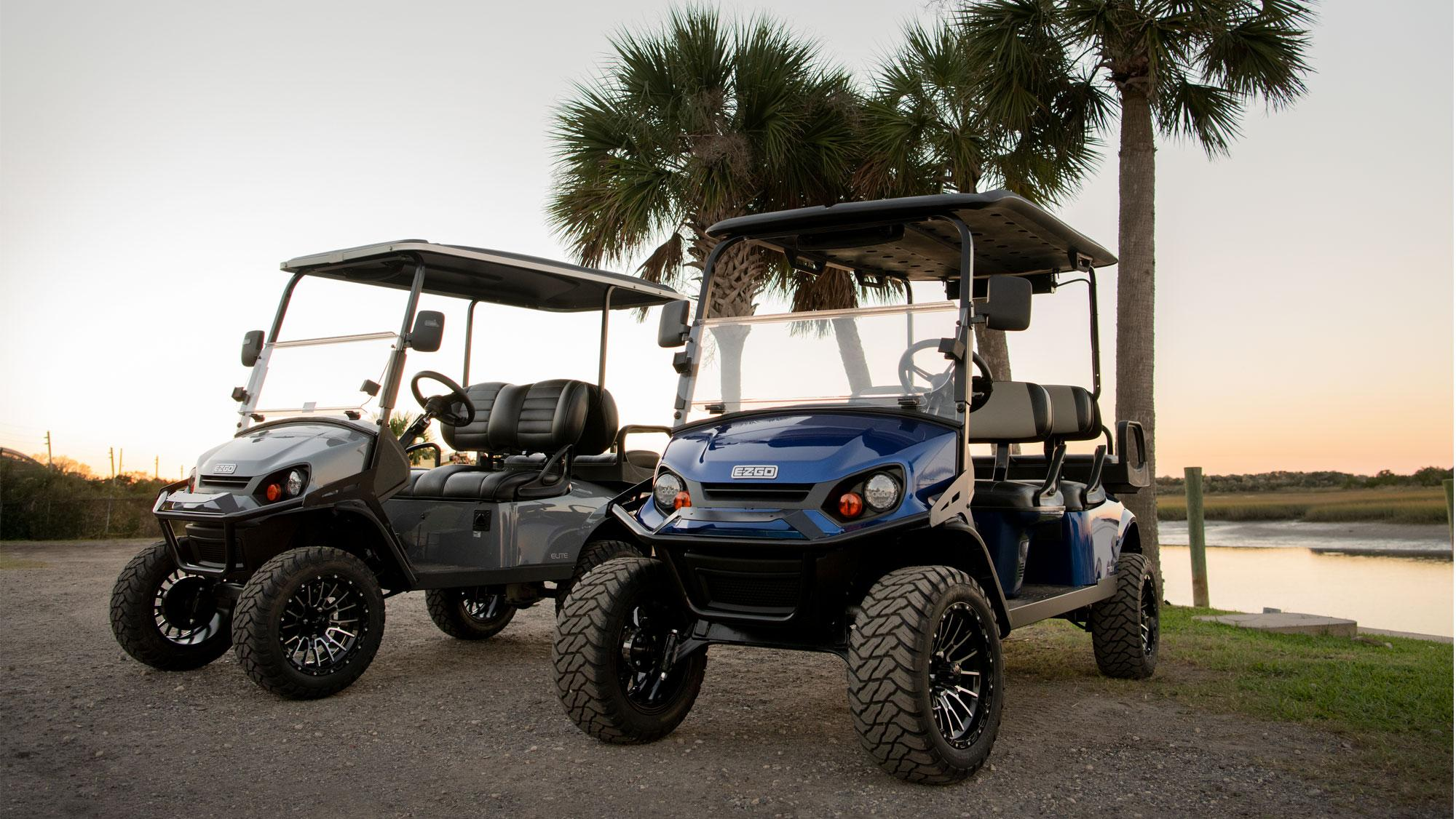 EZGO Express with wind shield top and seat accessories