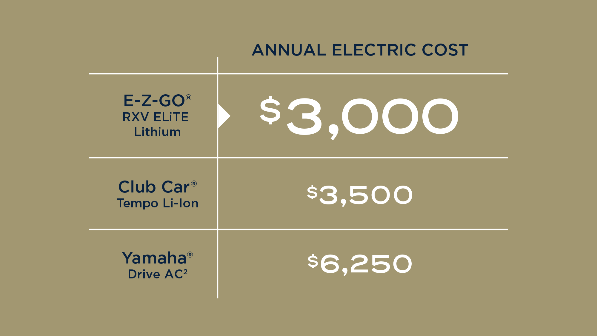 Annual electric cost. EZGO RXV ELiTE Lithium $3,000. Club Car Tempo Li-ion $3,500. Yamaha Drive AC $6,250.