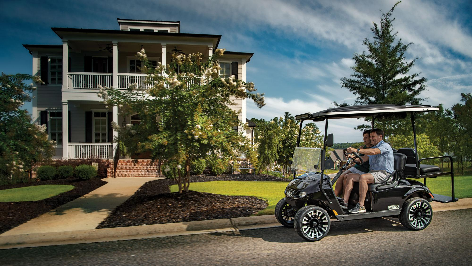 EZGO EX1 Gas Golf Cart Black Valor Driving