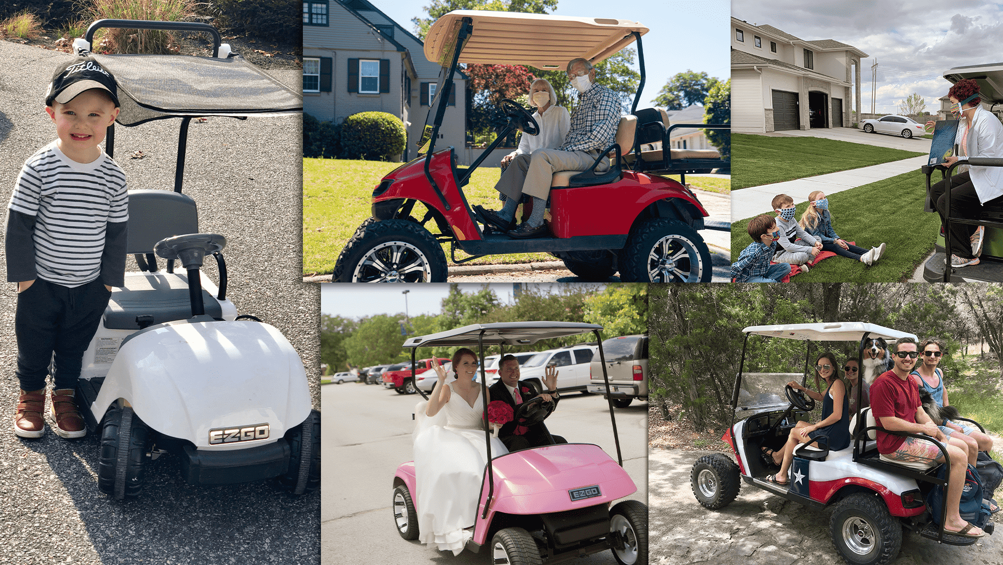 EZGO Golf Carts Life Wide Open Collage