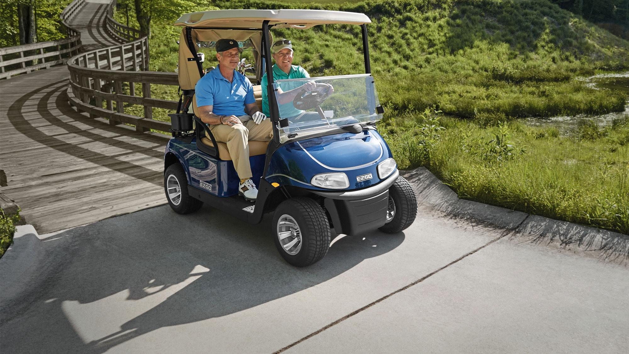 EZGO Blue Freedom RXV Fleet Golf Cart with Windshield and Top Accessories