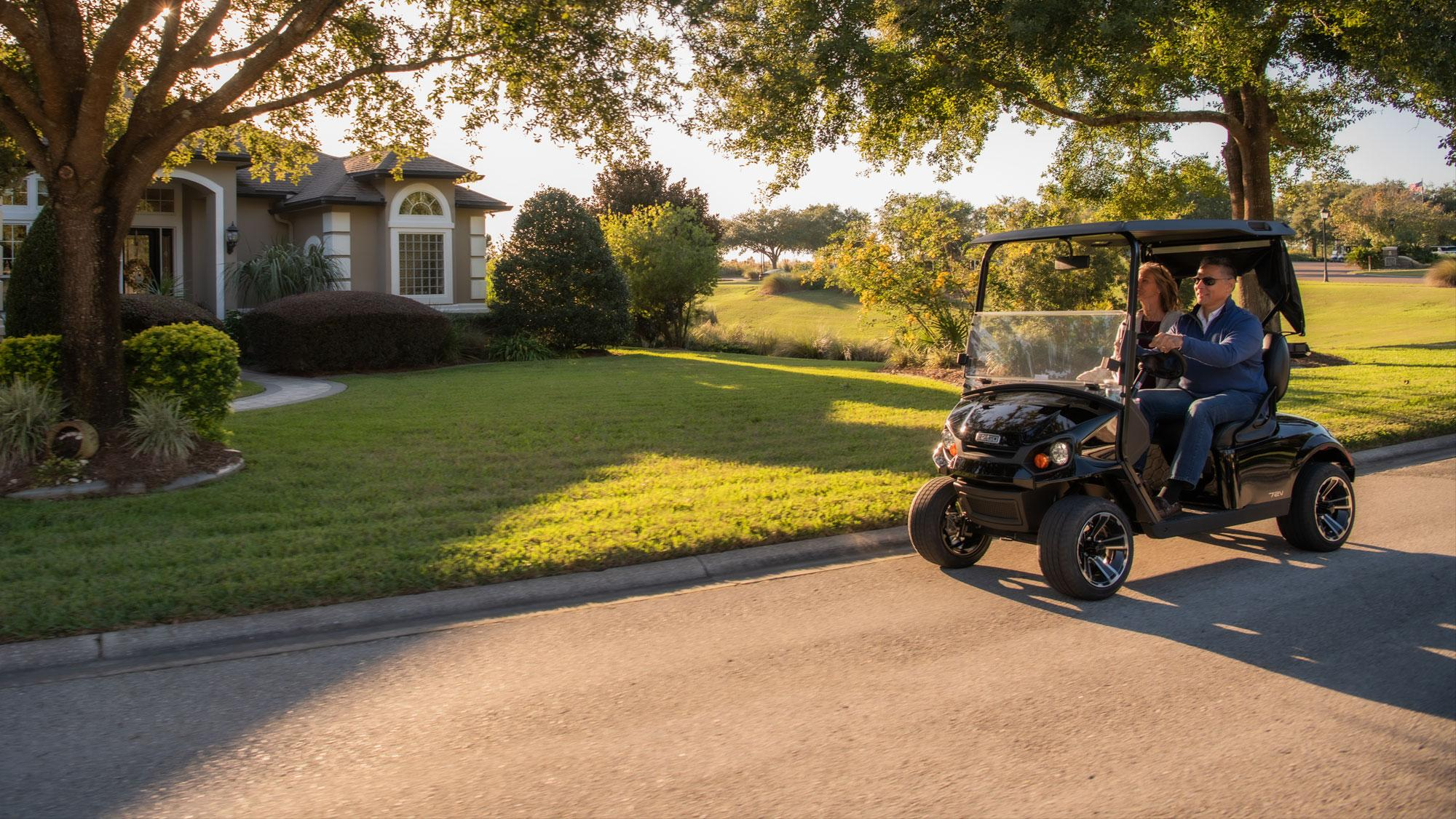 EZGO Express S2 Personal Golf Cart with Windshield and Top