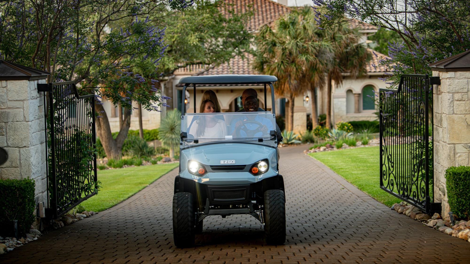 EZGO S4 Slate gas with golf cart  standard seating accessory