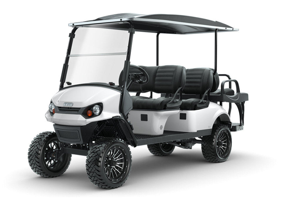 EZGO Express L6 Bright White Golf Cart with Premium Seats Accessory