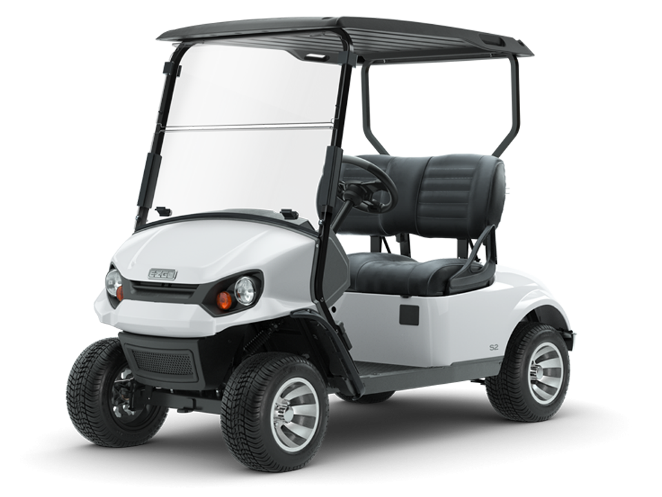 Express S2 Bright White Personal Golf Cart with Top and Windshield