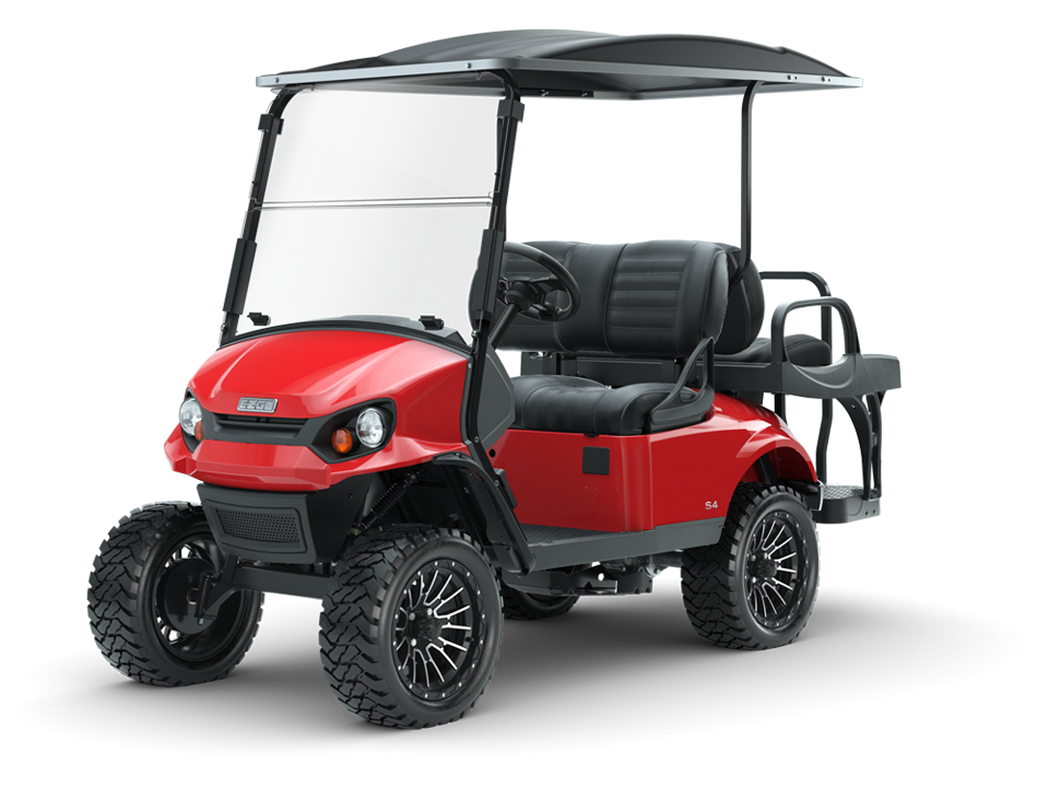 EZGO Flame Red Express S4 Golf Car with Black Premium Seats Accessory