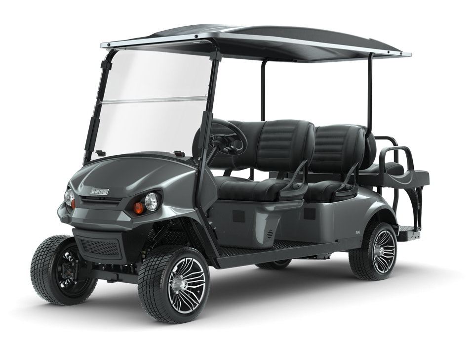 EZGO S6 Metallic Charcoal with golf cart steering wheel accessory