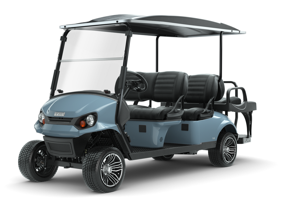 EZGO S6 Ocean Gray with golf cart top and windshield accessory