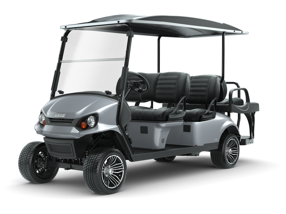 EZGO S6 platinum with golf cart top and windshield accessory