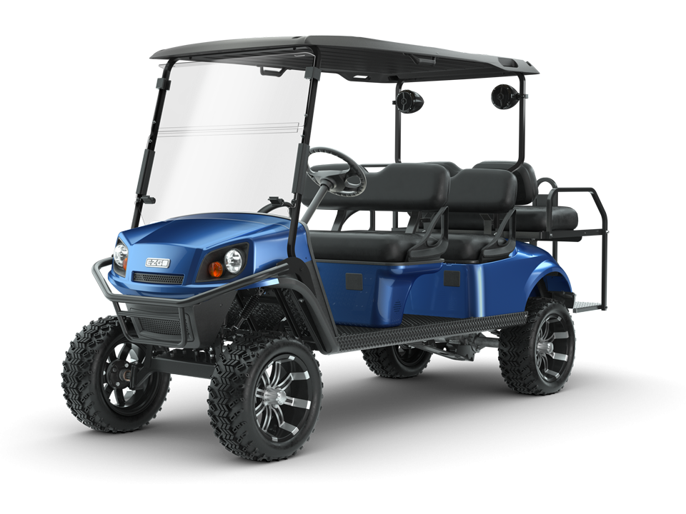 EZGO Express L6 Golf Cart with speaker and windshield accessories