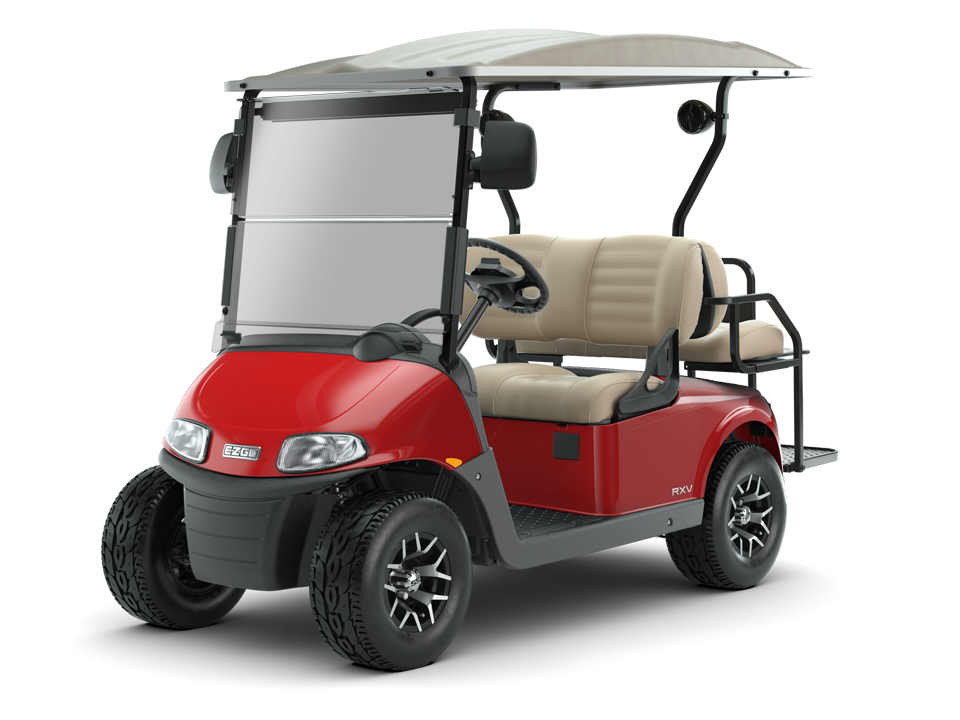 EZGO Flame Red Freedom RXV Golf Cart with Tan Top and Windshield Accessories