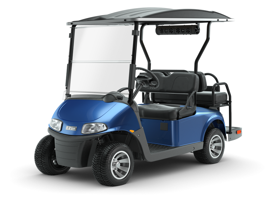 EZGO Electric Blue Freedom RXV Golf Cart with Speaker Accessory
