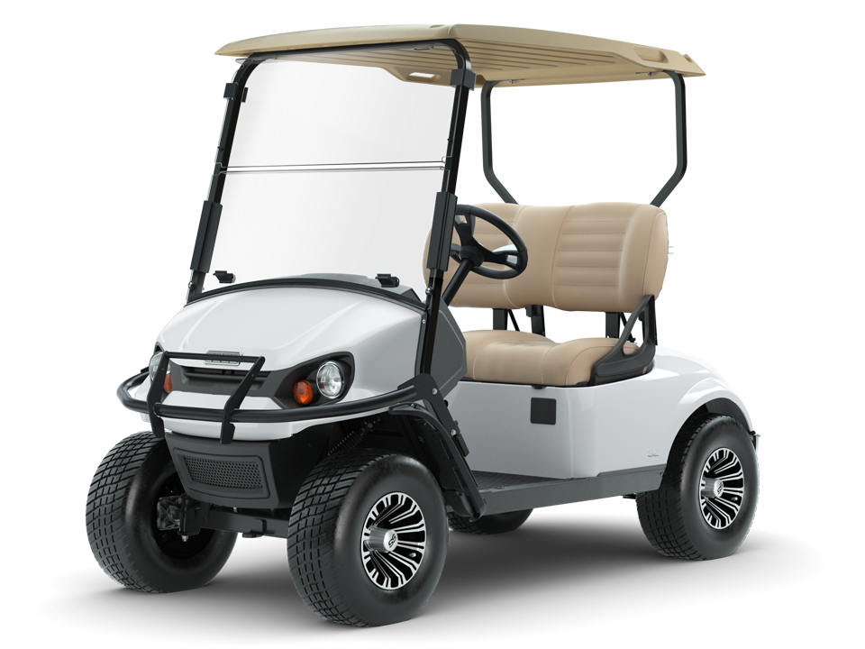 EZGO Bright White Express S2 Golf Cart with Top Accessories