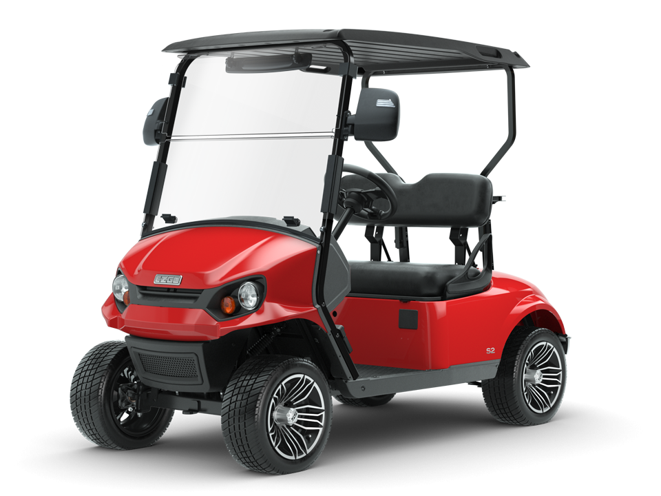 EZGO Inferno Red Express S2 Golf Cart with Side Mirror Accessories