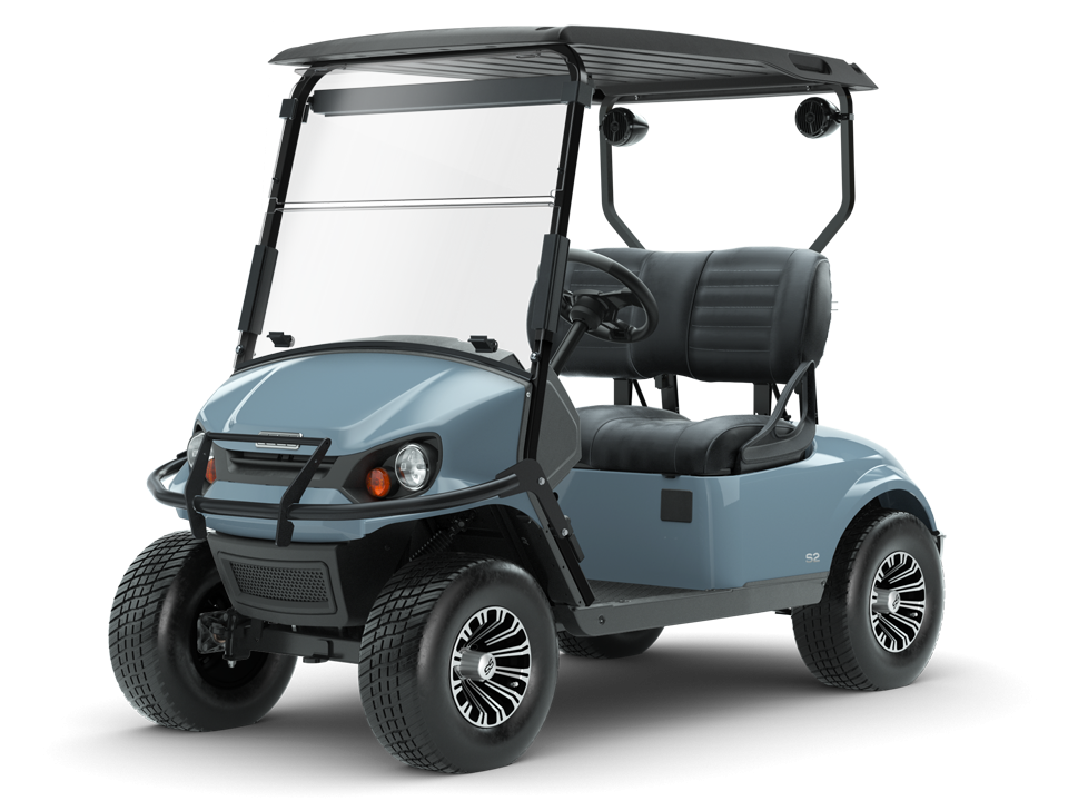 EZGO Ocean Grey Express S2 Golf Cart with Premium Seat Accessory