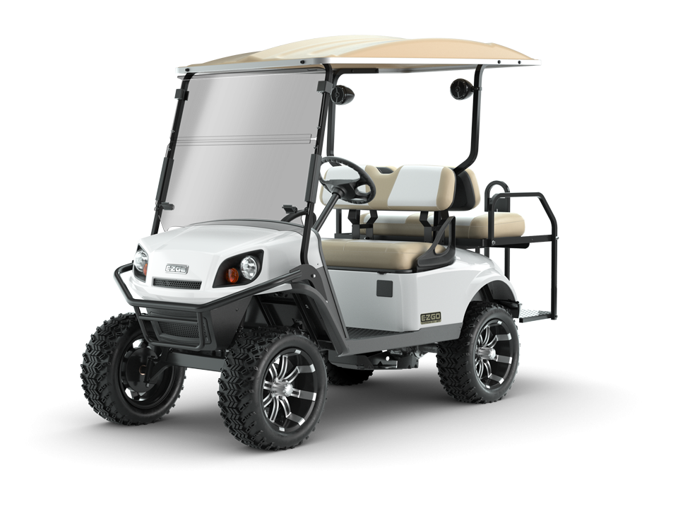EZGO White Express S4 Golf Cart with Windshield and Speaker Accessories
