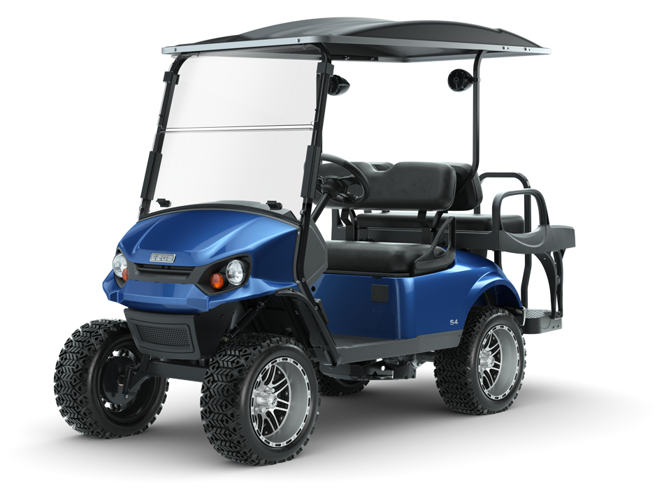 EZGO Electric Blue Express S4 Golf Cart with Windshield and Speaker Accessories