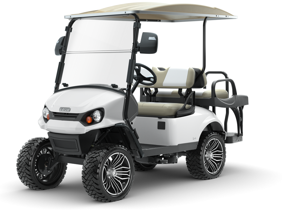 EZGO Express S4 Personal Golf Cart with Top and Windshield Accessory