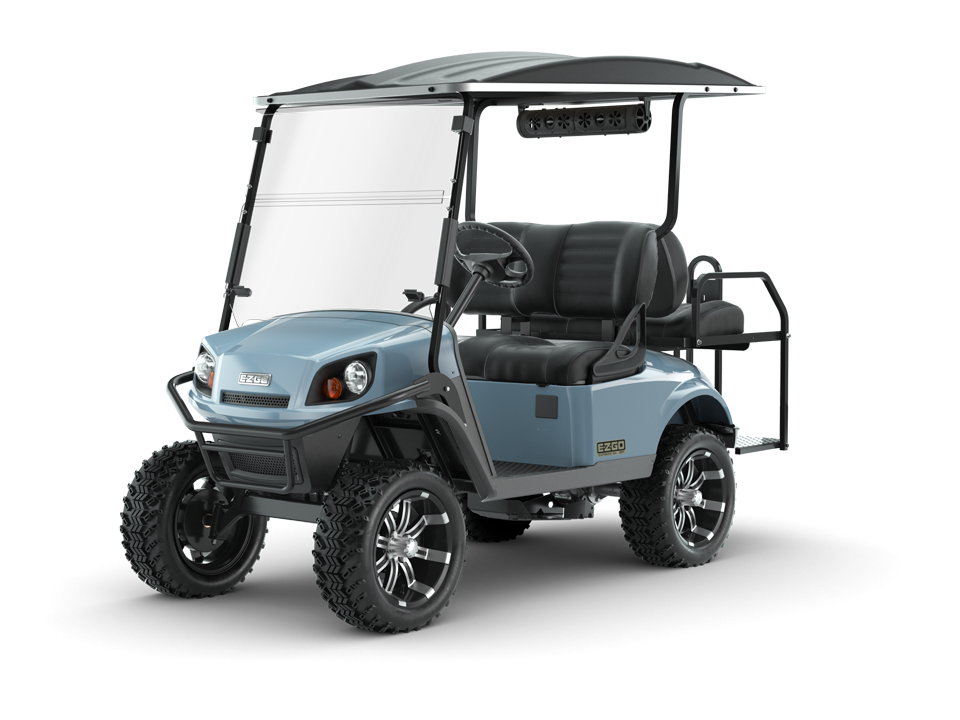 EZGO Ocean Grey Express S4 Golf Cart with Premium Seats and Speaker Accessory