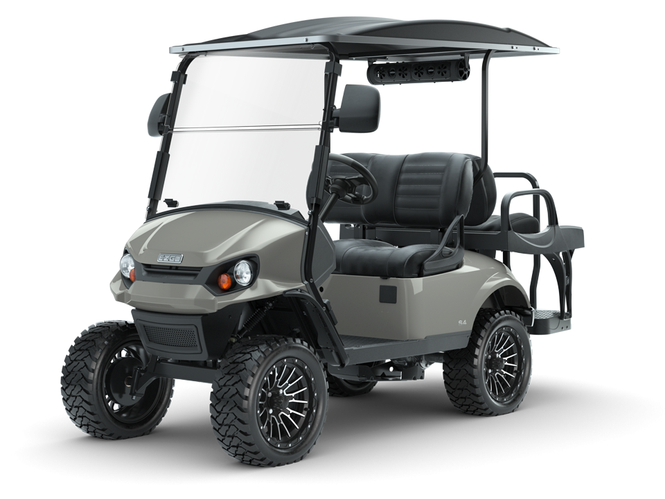 EZGO Slate Express S4 Golf Cart with Premium Seats and Speaker Accessory