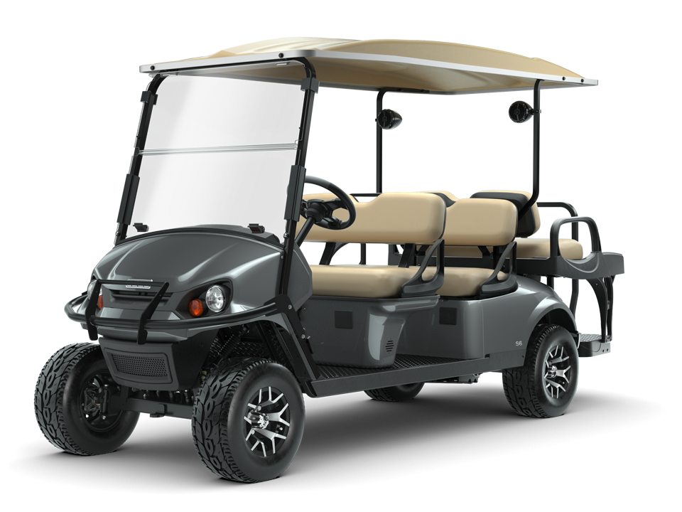 EZGO Express S6 Slate Golf Cart with Brush guard and 6 passenger seats