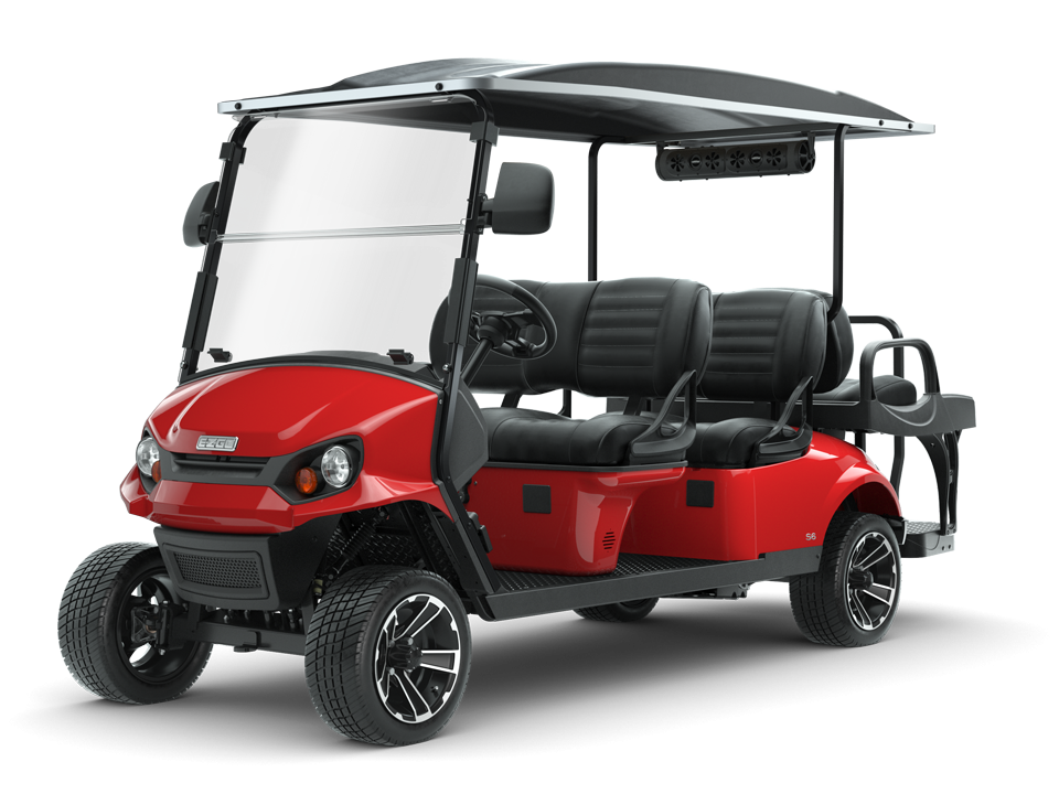 EZGO Express S6 Flame Red Golf Cart with Speaker and side mirror accessories