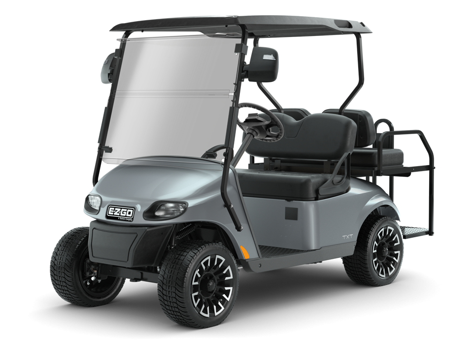 EZGO Platinum Freedom TXT Golf Cart with rear seat accessory