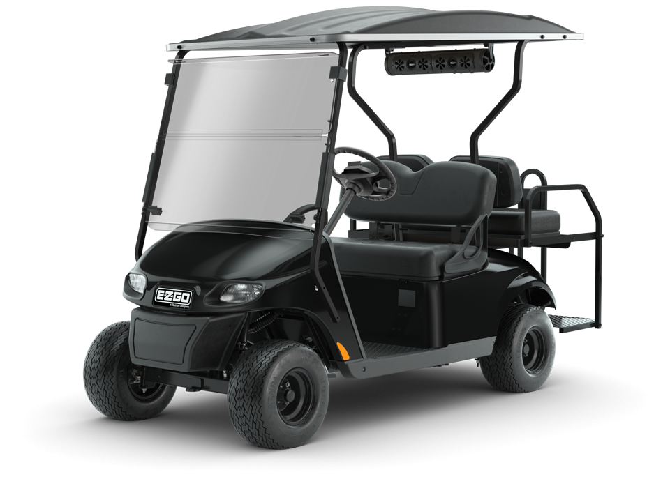 EZGO Black Freedom TXT GOlf Cart with Speaker and windshield accessories