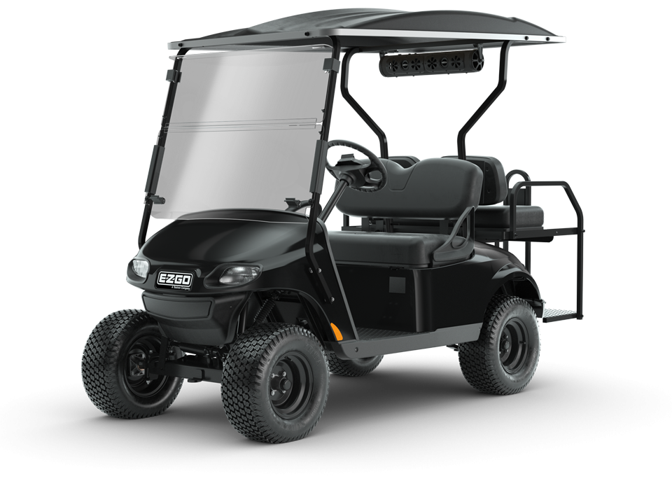 EZGO Black Valor Golf Cart with Speaker Accessory