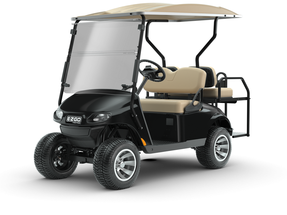 EZGO Black Valor Golf Cart with Top and Windshield Accessories