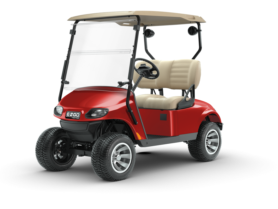 EZGO Flame Red Valor Golf Cart with Speaker and Premium Seat Accessories