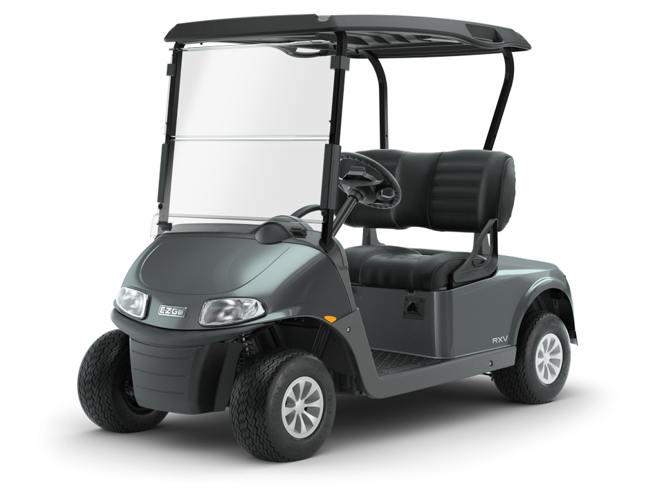 EZGO Freedom RXV Metallic Charcoal gas golf cart with Black Steering Wheel Accessory