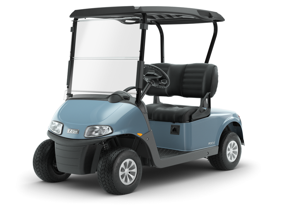 EZGO Freedom RXV Ocean Gray electric golf cart with Black golf cart tops Accessory