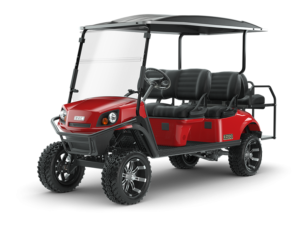 EZGO Express L6 Flame Red Golf Cart with Premium Seats Accessory