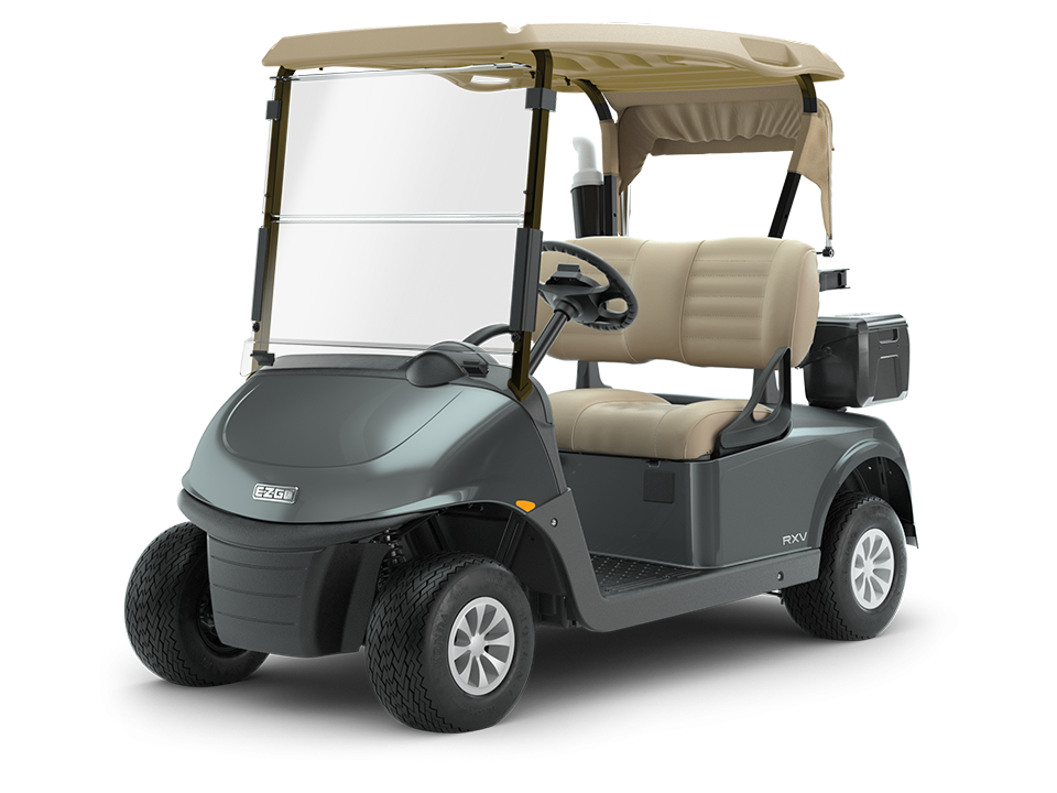 EZGO RXV gas golf cart with golf bag-well for club storage.