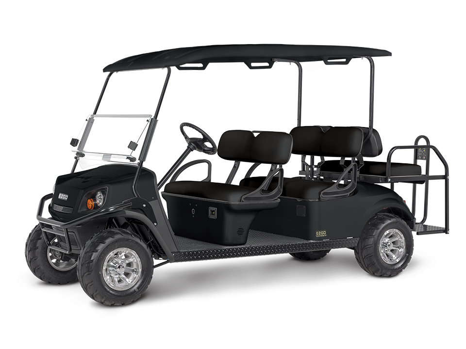 EZGO S6 Black electric with golf cart steering wheel accessory