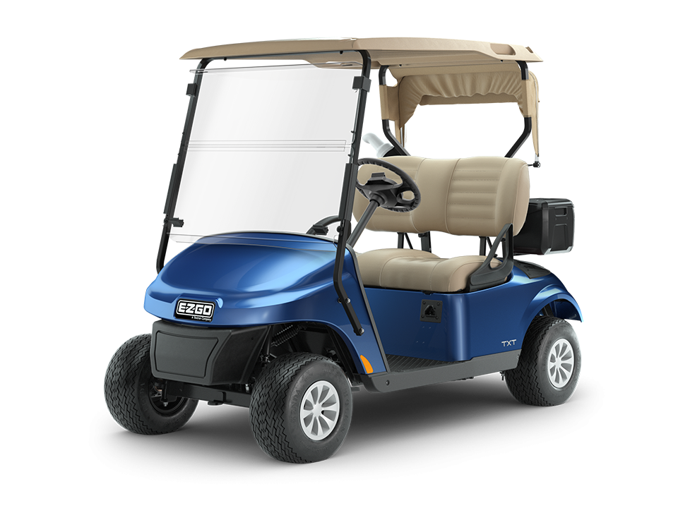 EZGO TXT blue gas golf cart with comfortable seats and a spacious dashboard.