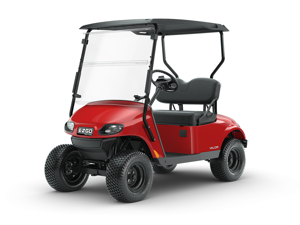 EZGO Valor Flame Red personal golf cart with comfortable golf cart windshield accessory
