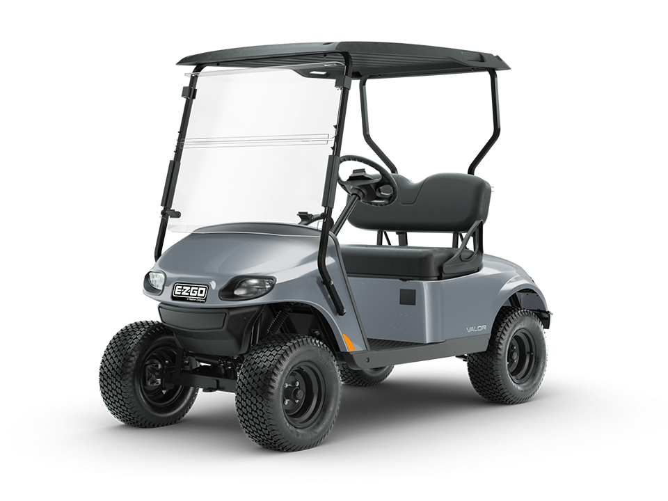 EZGO Valor Platinum personal golf cart with comfortable golf cart windshield accessory